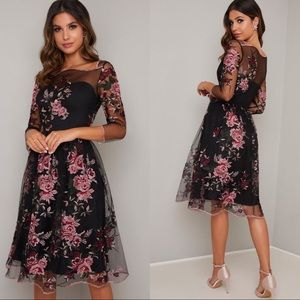 Chi Chi Adalee Dress FLORAL EMBROIDERED MIDI DRESS